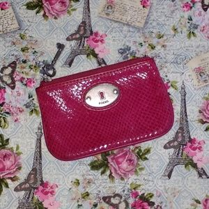 Fossil snake skin embossed leather ID case